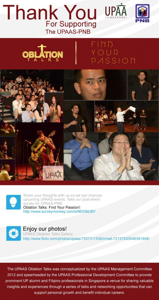 UPAAS-PNB Oblation Talks: Find Your Passion! Thank You e-flyer
